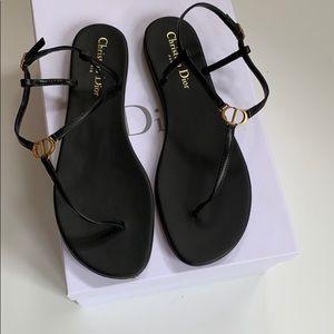 Christian Dior Black Lambskin thong sandals